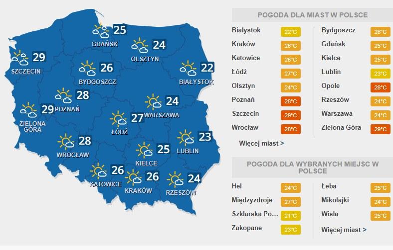 Temperatura w środę /INTERIA.PL