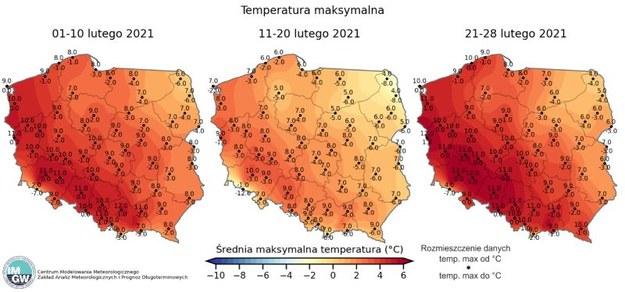 Temperatury maksymalne w poszczególnych dniach lutego / IMGW.pl /