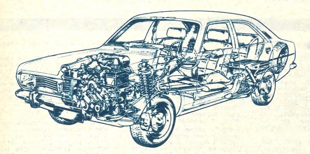 Ten rysunek anatomiczny samochodu Chryslera 180 pozwala na zorientowanie się w rozmieszczeniu poszczególnych zespołów wozu. /Chrysler