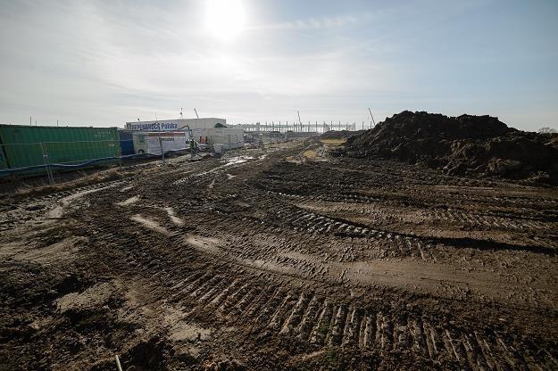 Teren budowy hali magazynowej firmy Amazon w Sadach koło Poznania /PAP