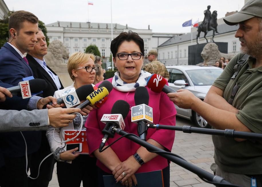 Teresa Piotrowska po spotkaniu z prezydentem /Paweł Supernak /PAP