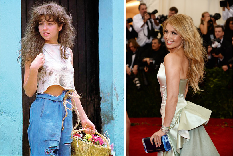 """Thalía - meksykańska królowa popu - światową sławę zyskała dzięki telenowelom, m.in. """"Marii Mercedes"""" (z lewej). Z upływem lat wygląda coraz lepiej. Piosenkarka przyznaje, że jej nowy krążek """"Amore Mio"""" zachęcił ją do pracy nad wyglądem. /Dimitrios Kambouris/ materiały prasowe /Getty Images"""