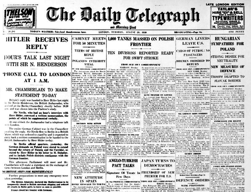 """The Daily Telegraph"" z 1939 roku i korespondencja Clare Hollingworth /Odkrywca"
