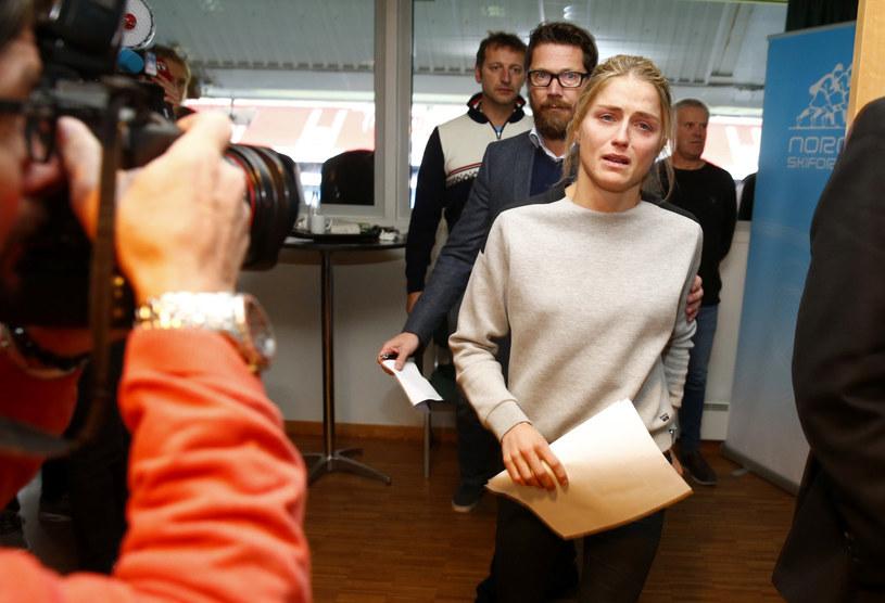 Therese Johaug podczas konferencji prasowej /AFP