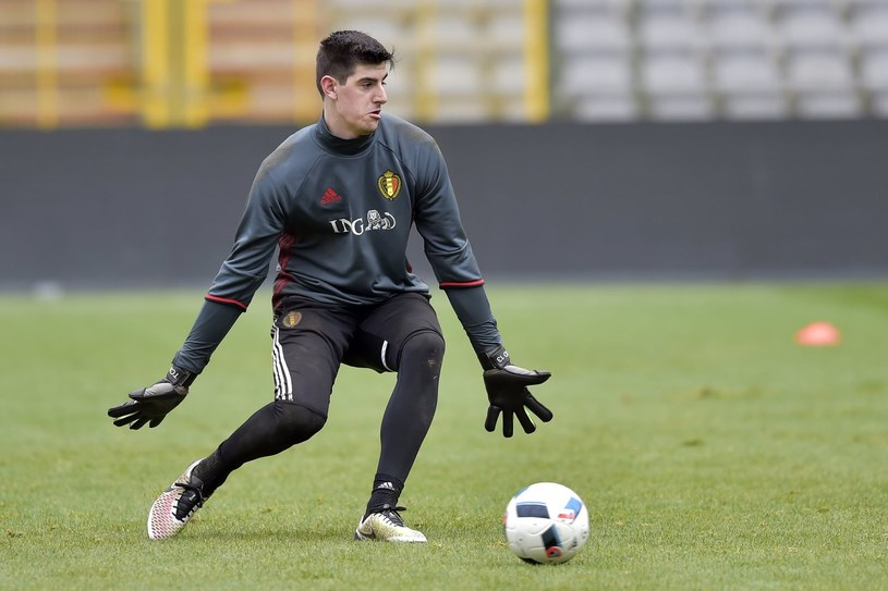 Thibaut Courtois podczas treningu reprezentacji Belgii /AFP