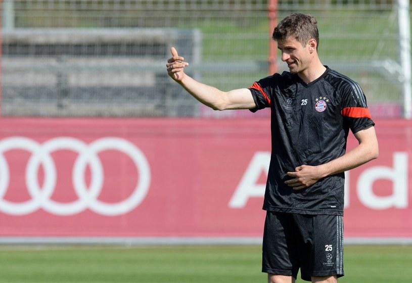 Thomas Mueller na treningu przed meczem z Porto /AFP