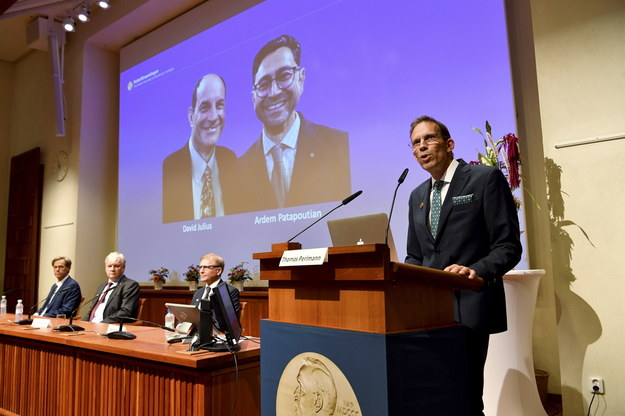 Thomas Perlmann sekretarz Zgromadzenia Nobla i Komitetu Noblowskiego ogłasza laureatów Nagrody Nobla 2021 w dziedzinie fizjologii lub medycyny podczas konferencji prasowej w Sztokholmie /Jessica Gow / POOL /PAP/EPA