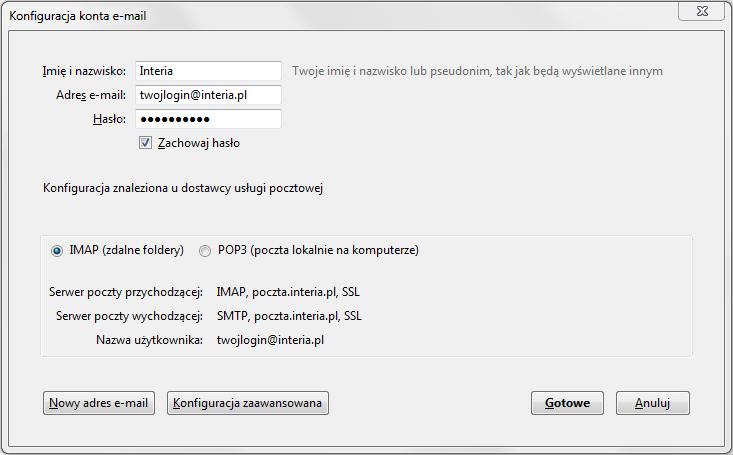 1cd10c880dc262 Mozilla Thunderbird - Konfiguracja programów pocztowych - Pomoc ...