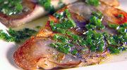 Tilapia z fioletową skorupką ziemniaczaną i sosem rozmarynowym