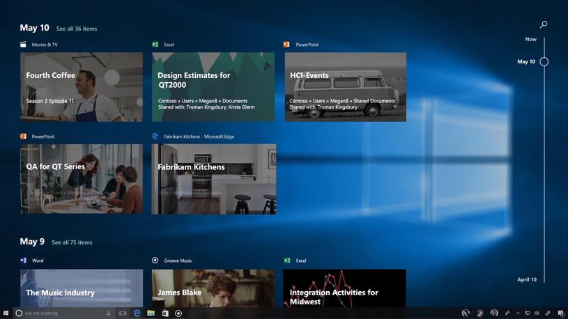 Timeline w Windows 10 /materiały prasowe