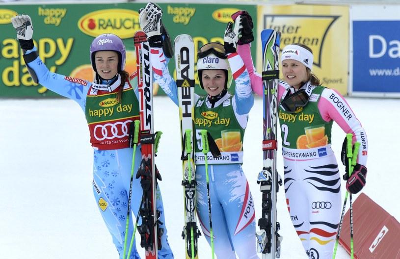 Tina Maze, Anna Fenninger i Viktoria Rebensburg /AFP