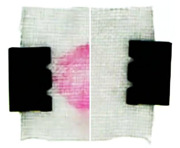 Tkanina płukana w czystej wodzie (po prawej) oczyszcza się szybciej, niż prana dłużej w wodzie z detergentem (po lewej) /S. Shin et al., Phys. Rev. Applied (2018) /Materiały prasowe