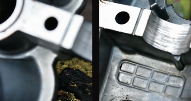 Tłusty osad powoduje dalsze pogarszanie smarowania i może zatykać kanały olejowe. Fot. po lewej to wnętrze zaszlamionego 1.8 TSI, a obok po wyczyszczeniu. /Motor