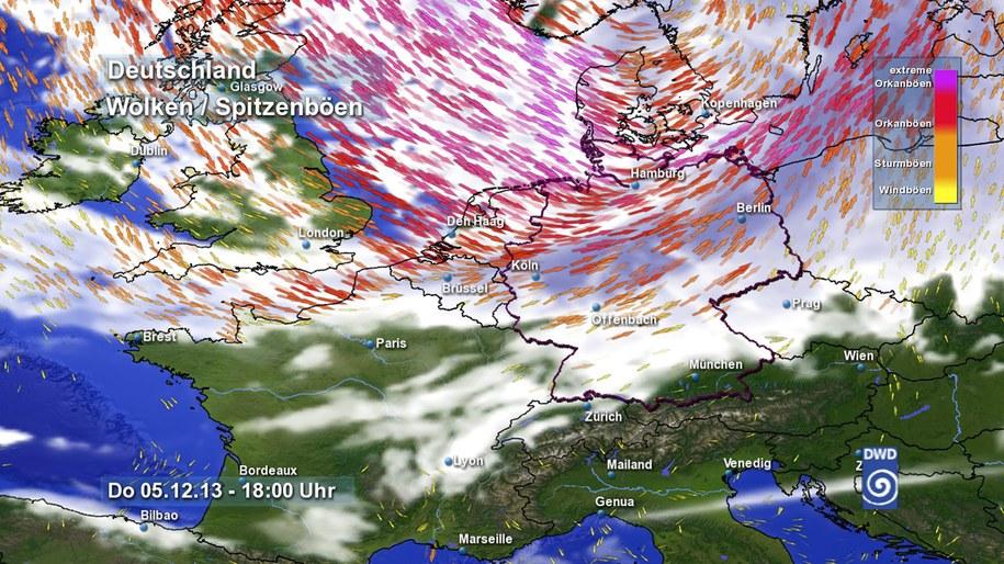 To mapa pogody niemieckich służb meteorologicznych /DWD /PAP/EPA