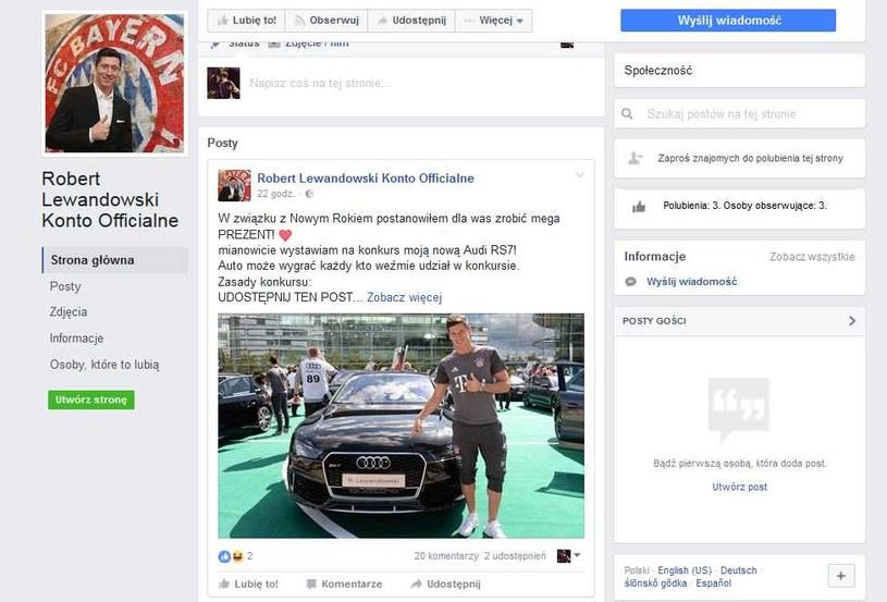 To nie jest oficjalny profil Roberta Lewandowskiego, a konkurs to zwykłe oszustwo /Internet