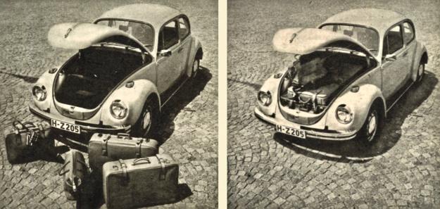 To wszystko mieści się obecnie w bagażniku przednim Volkswagena 1302. Aż wierzyć się nie chce! Przecież w starej wersji upchnąć można szczotkę do zębów, parasolkę i małą torebkę. /Volkswagen