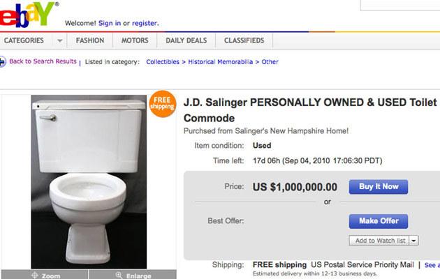Toaleta Salingera do kupienia na portalu aukcyjnym  /Splashnews