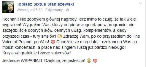 Tobiasz Staniszewski na Facebooku /