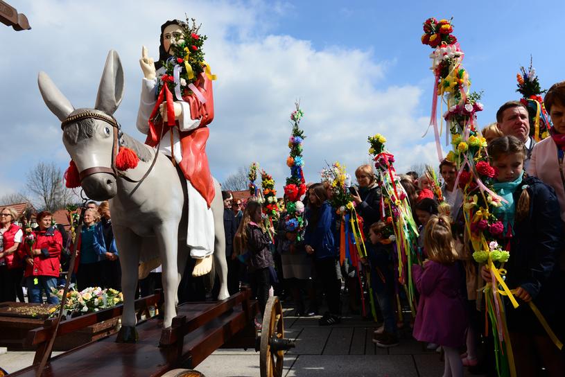 Tokarnia. Od czasów średniowiecza kultywowana jest  tu tradycja procesji z figurą Jezusa  na osiołku /Piotr Guzik /Agencja FORUM