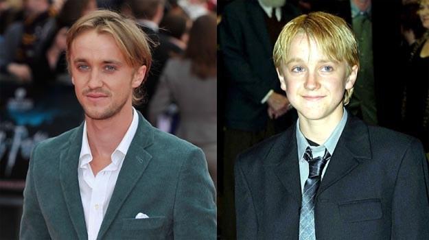 """Tom Felton dziś (L) i 11 lat temu (P), kiedy rozpoczynał przygodę z serią """"Harry Potter"""" /Getty Images/Flash Press Media"""