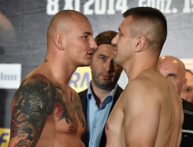 Tomasz Adamek (P) i Artur Szpilka /Jacek Bednarczyk /PAP