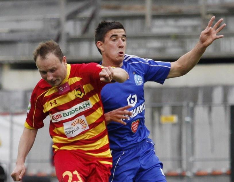 Tomasz Frankowski (z lewej) w meczu z Ruchem Chorzów /Fot. Artur Reszko /PAP
