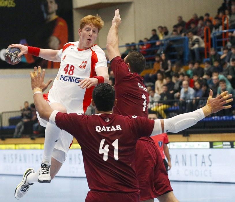 Tomasz Gębala podczas meczu towarzyskiego z Katarem /PAP/EPA
