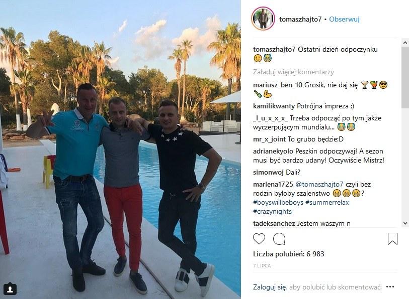 Tomasz Hajto pochwalił się zdjęciem z wakacji w towarzystwie Kamila Grosickiego i Sławomira Peszki /Instagram /