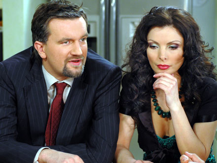 "Tomasz Kot i Agnieszka Dygant na planie ""Niani"", fot. Marek Ulatowski /MWMedia"