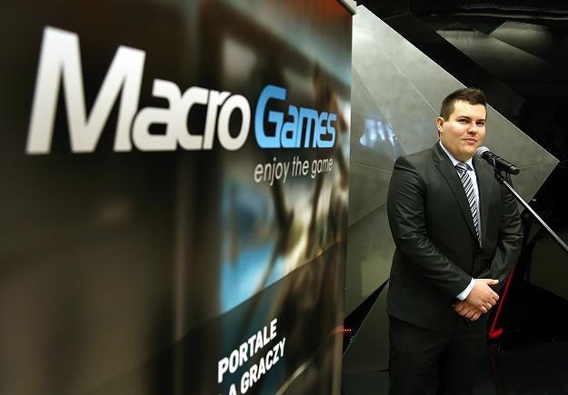 Tomasz Kurek, prezes Macro Games, podczas debiutu na NewConnect /PAP