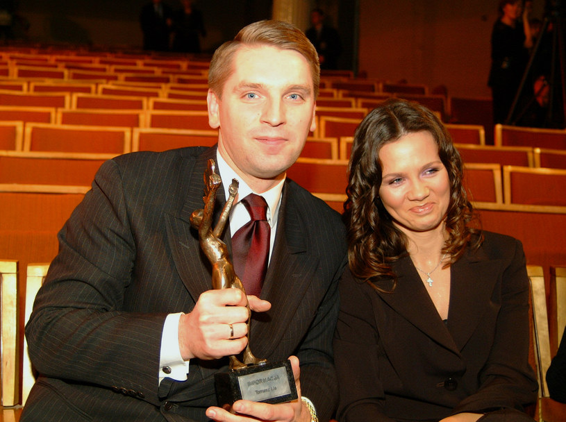 Tomasz Lis i Kinga Rusin, 2002 rok /Niemiec /AKPA