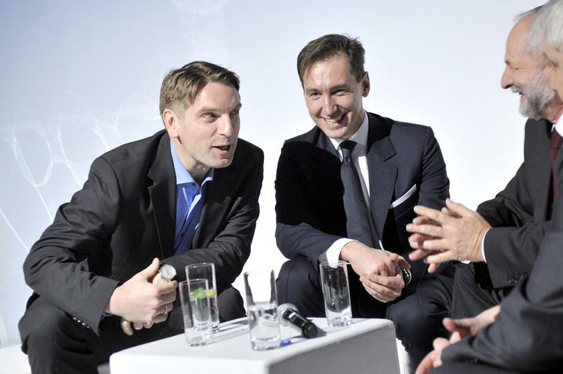 Tomasz Lis z Piotrem Kraśko i byłym prezesem TVP - Juliuszem Braunem /AKPA