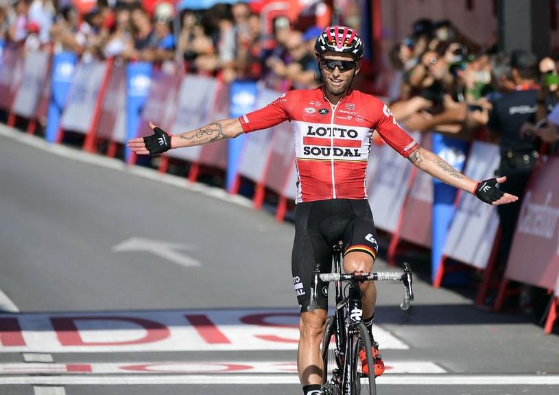 Tomasz Marczyński cieszy się z etapowego zwycięstwa na Vuelta a Espana /AFP