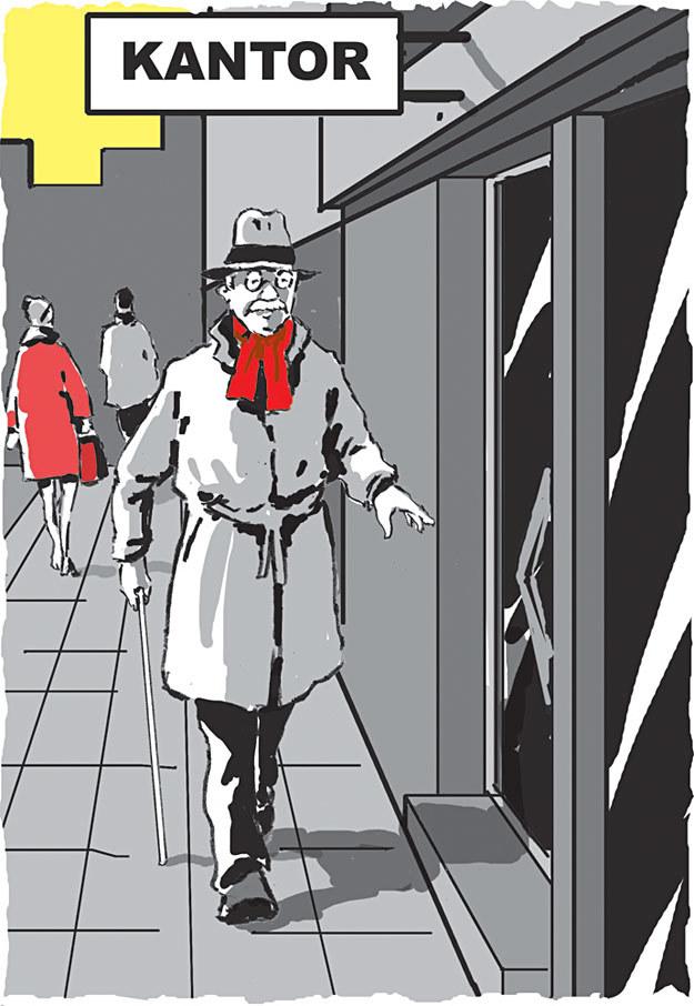 Tomasza Ś. chodził ze swoimi studolarówkami od kantoru do kantoru /rys. Andrzej Fonfara /Śledztwo