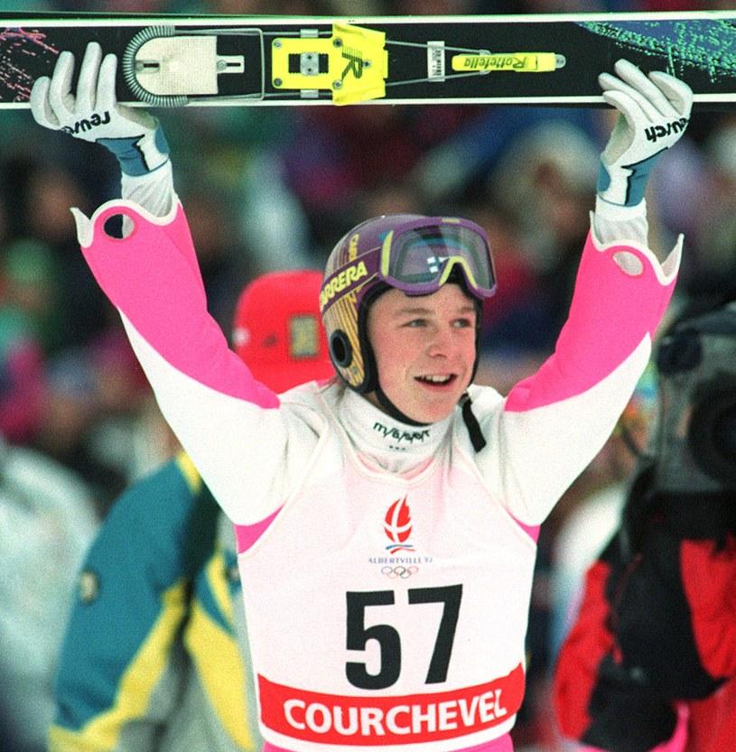 Toni Nieminen triumfuje na igrzyskach olimpijskich w Albertville /AFP