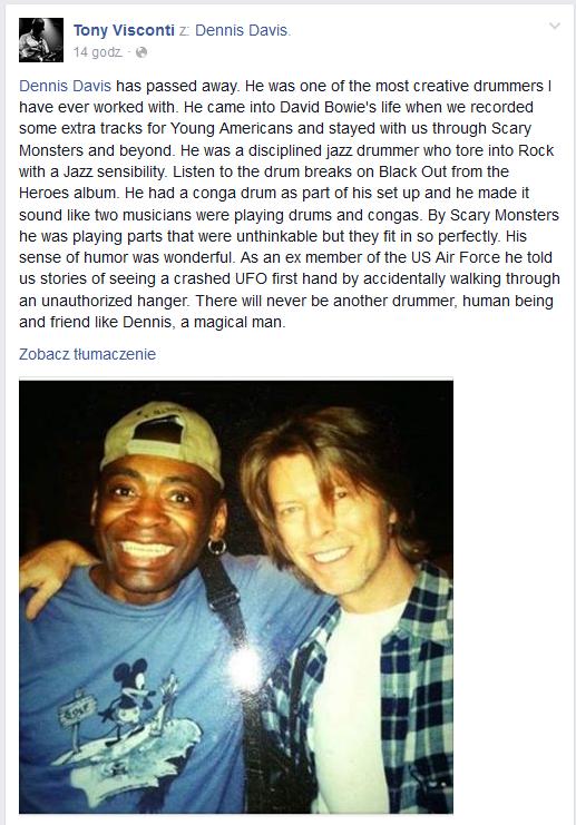 Tony Visconti pożegnał Dennisa Davisa na Facebooku /