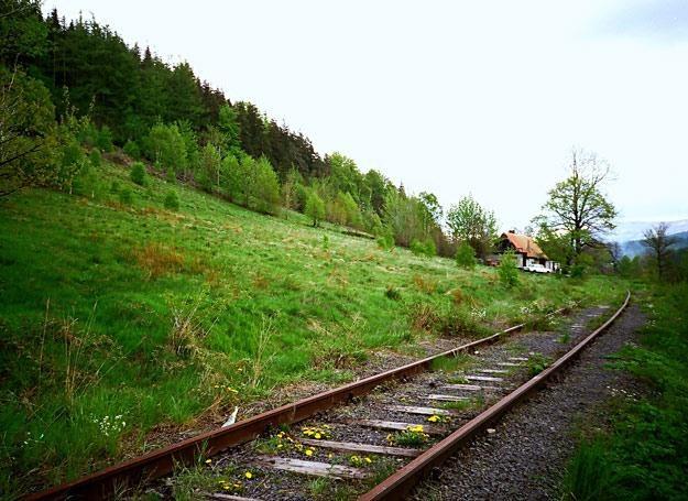 Tor kolejowy u podnóża Sępiej Góry na zdjęciu z maja 1995 roku /Odkrywca