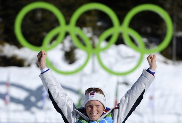 Tora Berger  na olimpijskim podium. /INTERIA.PL/PAP