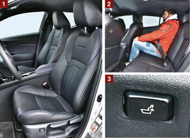TOYOTA [1] Fotel C-HR jest całkiem wygodny, choć ma najkrótsze siedzisko. [2] Tył kabiny C-HR jest nieco ciasnawy. Nie rozpieszcza miejscem na głowy, a na nogi jest go tyle co w ASX-ie. Czyli bardzo mało. [3] Na tle konkurentów atutem foteli Toyoty jest seryjna elektrycznie regulowana podpórka lędźwiowa. /Motor