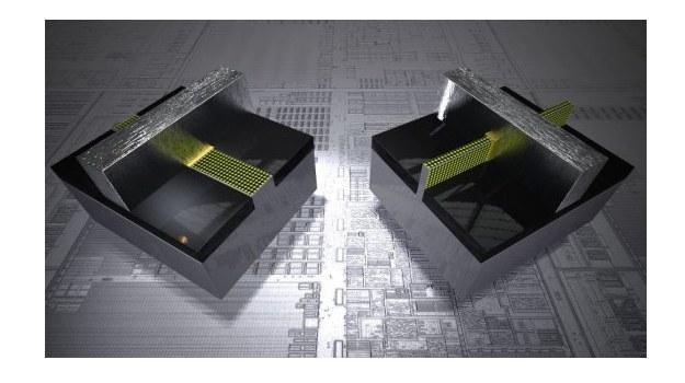 Tradycyjny transytor planarny (L)  w porównaniu do tranzystora 3D (P) /kopalniawiedzy.pl
