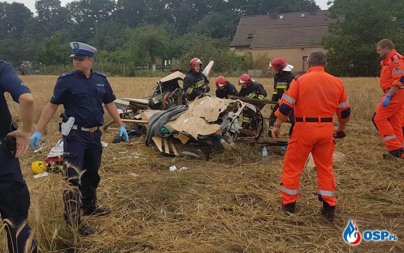 Tragiczny wypadek śmigłowca w okolicach miejscowości Domecko pod Opolem /foto. osp.pl /