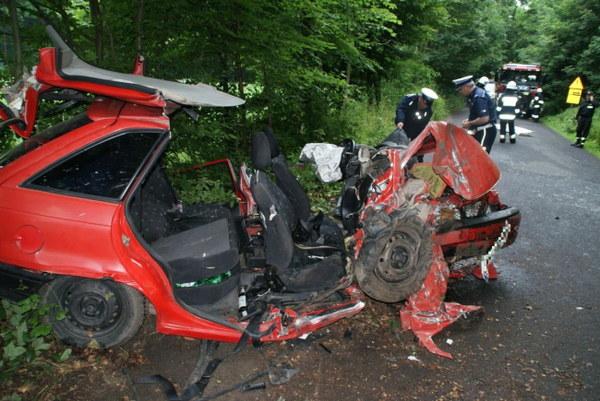 Osobowy opel na łuku wypadł z drogi i uderzył w drzewo. W wypadku zginęło pięć osób, a jedna w stanie ciężkim trafiła do szpitala.