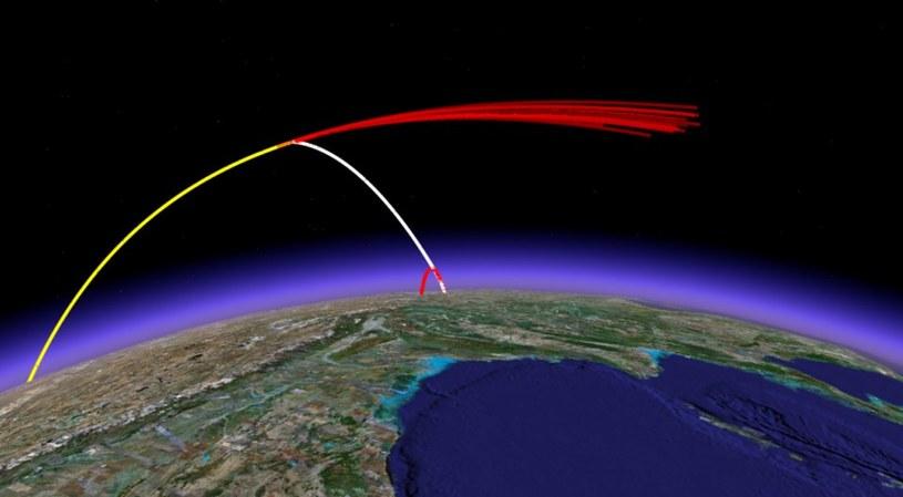 Trajektoria lotu pocisku ASAT (kolor biały), satelity (kolor żółty) oraz szczątków i pierwszego stopnia pocisku ASAT (kolor czerwony) /materiały prasowe
