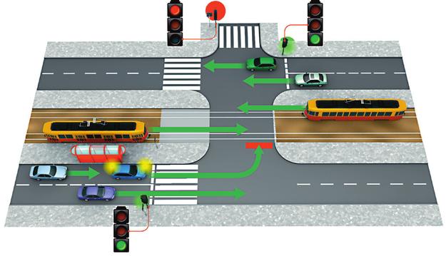 tramwaj na skrzyżowaniu z sygnalizacją świetlną /Motor