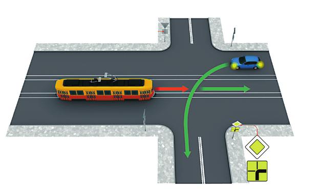 tramwaj na skrzyżowaniu /Motor