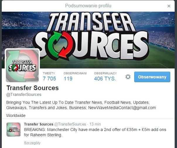 Transfer Sources na Twitterze /Twitter /Internet