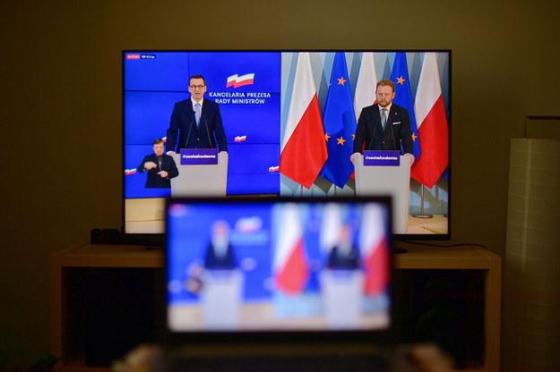 Transmisja konferencji prasowej premiera Mateusza Morawieckiego i ministra zdrowia Łukasza Szumowskiego / Marcin Obara  /PAP