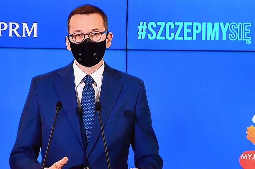 Transmisja konferencji prasowej premiera Mateusza Morawieckiego /Piotr Nowak /PAP