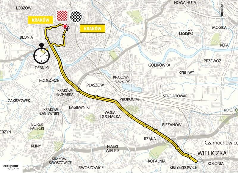 Trasa 7. etapu 72. Tour de Pologne, który odbędzie się w Krakowie /Tour de Pologne /materiały prasowe