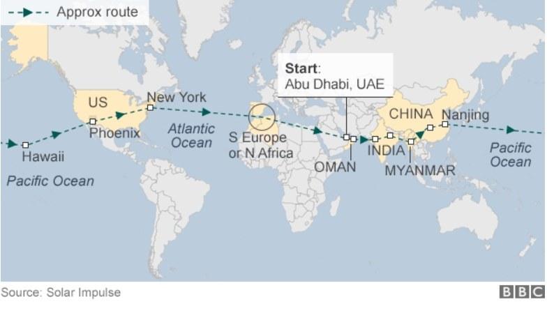 Trasa historycznego lotu                              źródło: BBC /